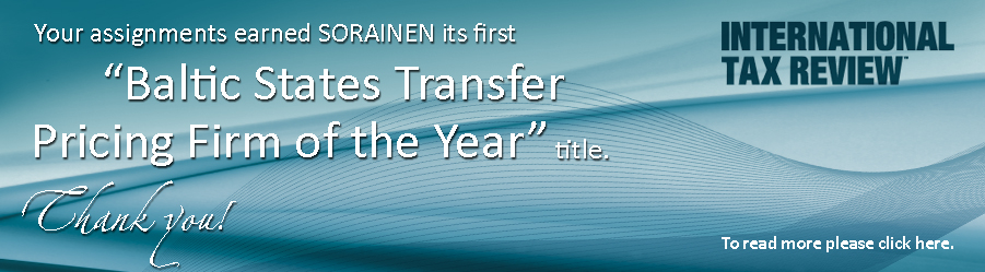 SORAINEN receives its first Baltic States Transfer Pricing Firm of the Year 2013 award